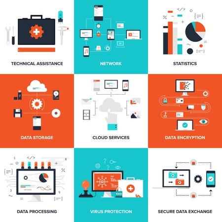 tecnolog�a informatica: Ilustraci�n plana en el servicio t�cnico