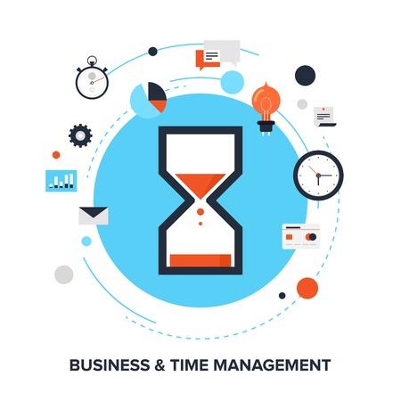 ビジネス、時間管理平らな設計コンセプトのイラスト。
