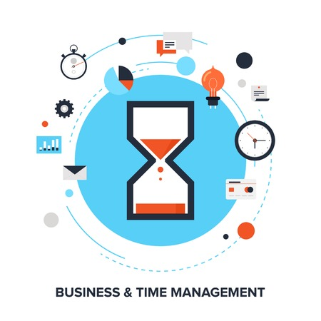 illustration of business and time management flat design concept. Çizim