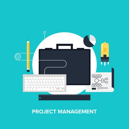 project deadline: illustration of project management flat design concept.