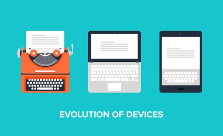 tell stories: Flat illustration of evolution of devices from typewriter to laptop and tablet.