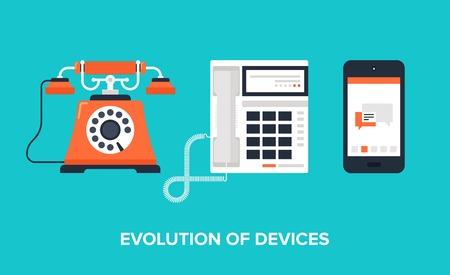 oficina: Ilustración plano de la evolución de los dispositivos de comunicación de teléfono clásico para el teléfono móvil moderno.