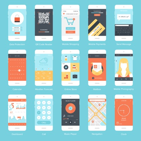 Flat vector collection of modern mobile phones with different user interface elements.