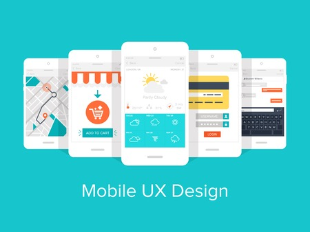 user experience design: Flat vector collection of modern mobile phones with different user interface elements.