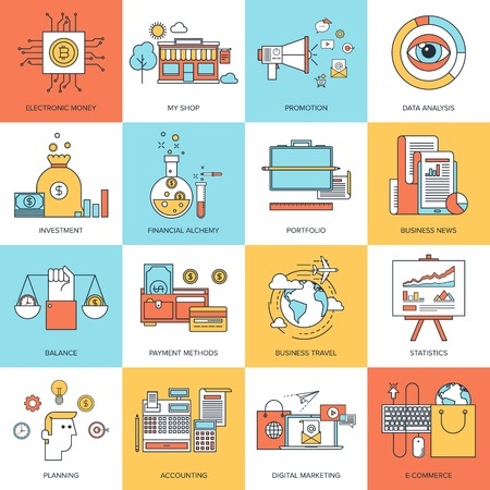 creative finance: Vector set of flat line concepts on business and finance theme . Design elements for web and mobile applications. Illustration