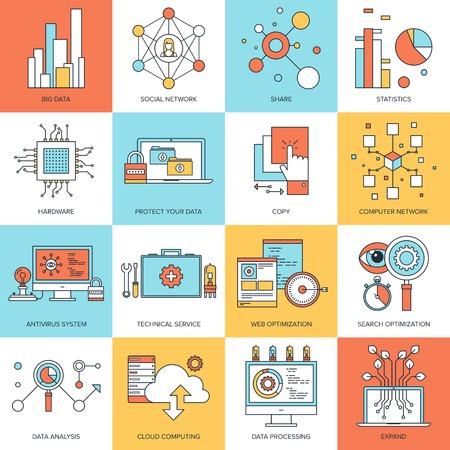 red informatica: Vector conjunto de conceptos de líneas planas en tema de la tecnología. Los elementos de diseño para la web y las aplicaciones móviles. Vectores