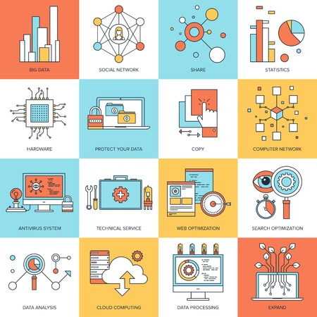 Vector set of flat line concepts on technology theme . Design elements for web and mobile applications. Stock Vector - 31083158