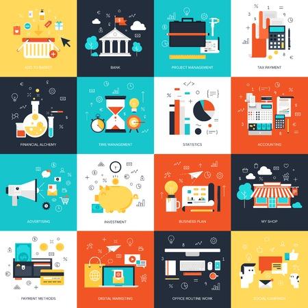 Vector collection d'affaires et de la finance concepts plates et colorées. éléments de conception pour les applications web et mobiles. Illustration