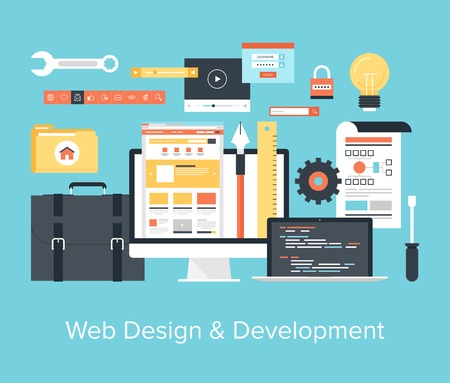 web hosting: Abstract flat vector illustration of web design and development concepts. Elements for mobile and web applications.