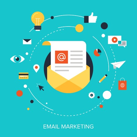 Flat vector illustration concept of e-mail marketing on blue background.
