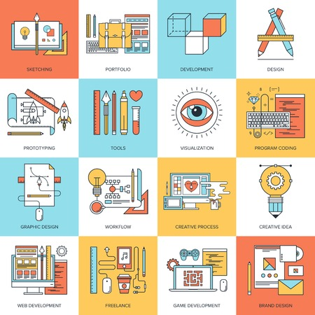 freelance: Abstract flat line vector illustration of design and development concepts. Elements for mobile and web applications. Illustration