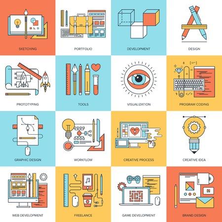 gestion documental: Ilustración vectorial línea plana Resumen de diseño y desarrollo de conceptos. Elementos para aplicaciones móviles y web. Vectores
