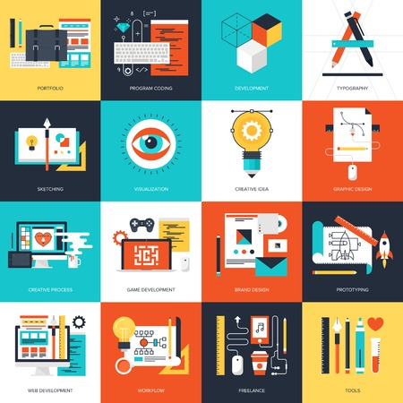 brand: Abstract flat vector illustration of design and development concepts. Elements for mobile and web applications. Illustration