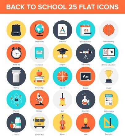 calendario escolar: Colecci�n de vectores de fondo de coloridos iconos de la educaci�n y el conocimiento planas. Elementos de dise�o de aplicaciones m�viles y web.