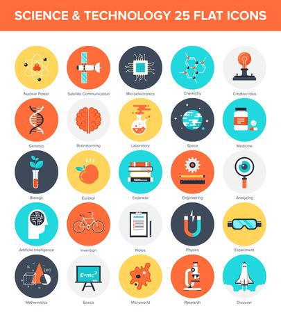 Abstract vector collectie van kleurrijke platte wetenschap en technologie pictogrammen. Design elementen voor mobiele en web applicaties.