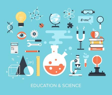 experimento: Resumen ilustración vectorial plano de los conceptos de ciencia y tecnología. Elementos de diseño de aplicaciones móviles y web. Vectores