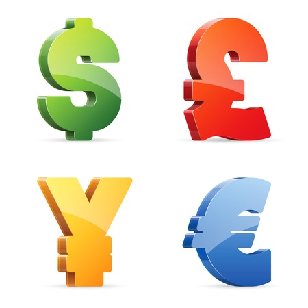 currency symbols: Vector set of glossy colorful currency symbols Illustration