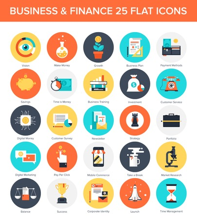 Collection de vecteur Résumé d'affaires et de finances icônes plats colorés. Les éléments de conception pour les applications web et mobiles.