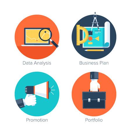 gestion empresarial: Vector colecci�n de iconos de colores de negocios y finanzas planas. Elementos de dise�o de aplicaciones m�viles y web.