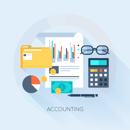 accounting icon: Vector collection of flat and colorful business and finance concepts with long shadow. Design elements for web and mobile applications.