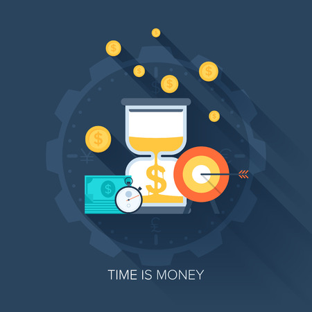 time money: Vector collection of flat and colorful business and finance concepts with long shadow. Design elements for web and mobile applications.