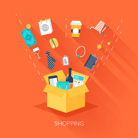 shopping chart: Vector collection of flat and colorful business and finance concepts with long shadow. Design elements for web and mobile applications.