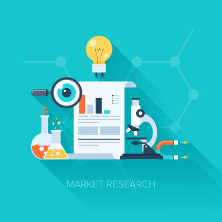market research: Vector collection of flat and colorful business and finance concepts with long shadow. Design elements for web and mobile applications.