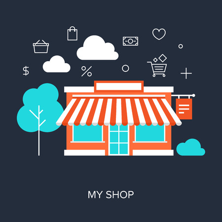 retail business: Vector collection of flat and colorful business and finance concepts. Design elements for web and mobile applications.