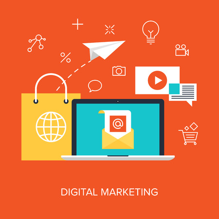 digital data: Vector collection of flat and colorful business and finance concepts. Design elements for web and mobile applications.