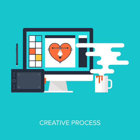 software design: Abstract flat vector illustration of design and development concepts. Elements for mobile and web applications. Illustration
