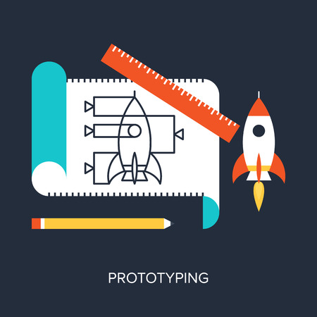 prototyping: Abstract flat vector illustration of design and development concepts. Elements for mobile and web applications. Illustration