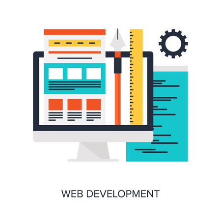 web elements: Abstract flat vector illustration of design and development concepts. Elements for mobile and web applications. Illustration