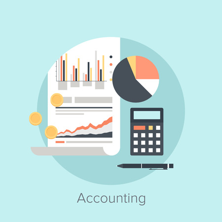 Vector illustration of accounting flat design concept. Ilustração