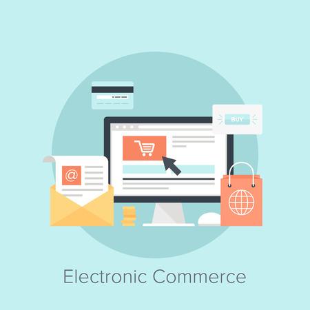 commerce: Vector illustration of digital commerce flat design concept. Illustration