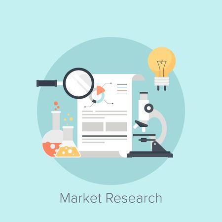 Vector illustration of market research flat design concept. Vector