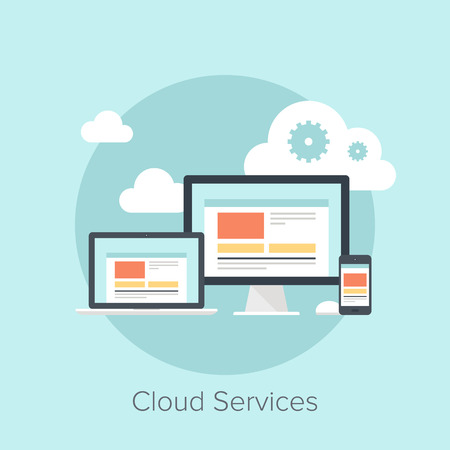devices: Vector illustration of cloud computing concept on different electronic devices.