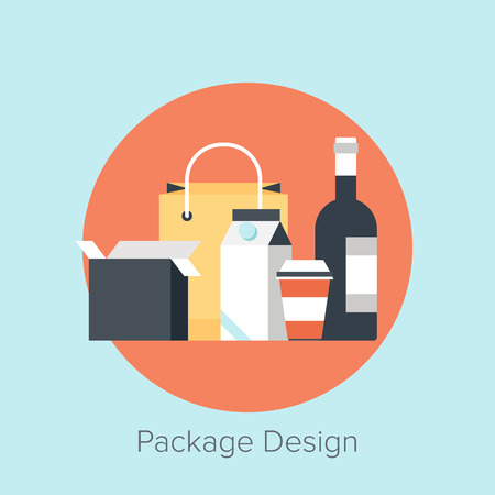 packaging icon: Vector illustration of packaging flat design concept.