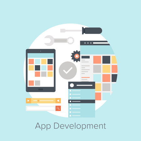 Abstract flat vector illustration of application development concepts. Design elements for mobile and web applications. Vector