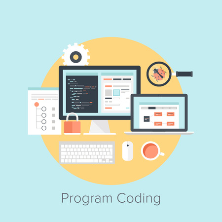 Abstract flat vector illustration of software coding and development concepts. Design elements for mobile and web applications. Иллюстрация
