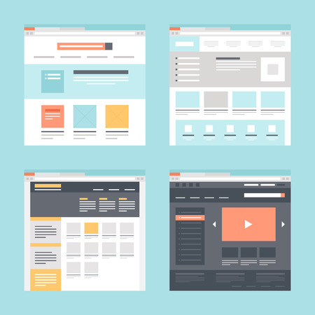 page layout design: Vector collection of flat website templates on blue background. Illustration