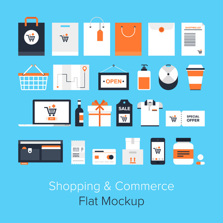 retail: Flat vector design of shopping and retail concept isolated on blue background.