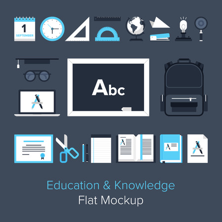 knowledge concept: Abstract flat vector illustration of education and knowledge concept. Elements for mobile and web applications.