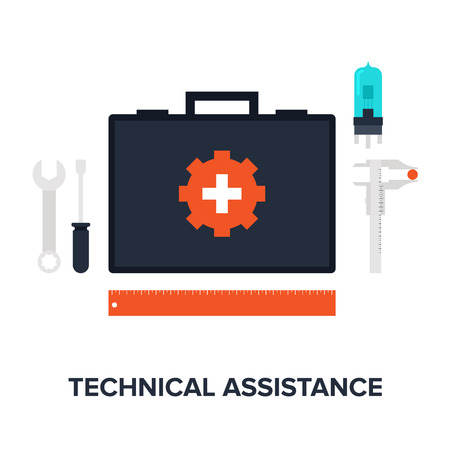 first aid sign: Abstract flat vector illustration of technical assistance concept isolated on white background. Design elements for web. Illustration