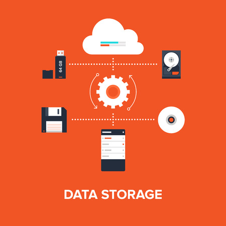 Abstract flat vector illustration of data storage concept isolated on red background. Design elements for web. Vector