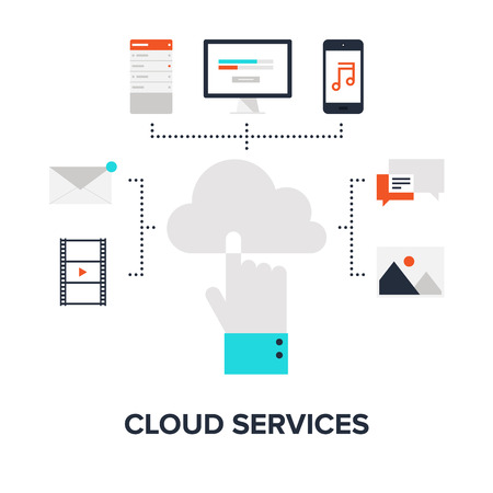 Vector illustration of cloud computing concept on different electronic devices. Vector