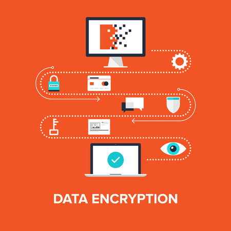 computer virus: Abstract flat vector illustration of data encryption concept isolated on red background. Design elements for web.