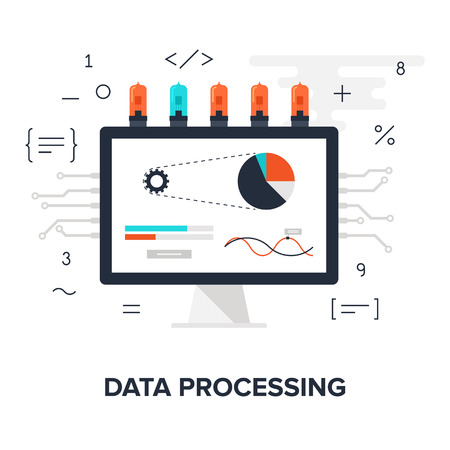 digital data: Abstract flat vector illustration of data processing concept isolated on white background. Design elements for web. Illustration