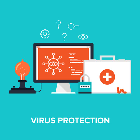 computer virus: Abstract flat vector illustration of virus protection concept isolated on blue background. Design elements for web. Illustration