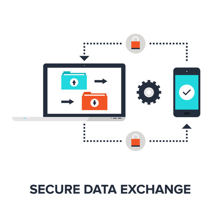 data link: Abstract flat vector illustration of secure data exchange concept isolated on white background. Design elements for web. Illustration