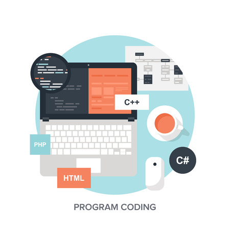 Abstract flat vector illustration of software coding and development concepts. Design elements for mobile and web applications. Vectores